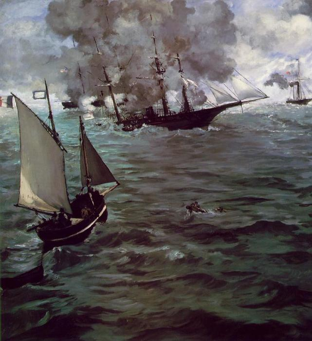 famous painting Battle of Kearsage and Alabama of Edouard Manet