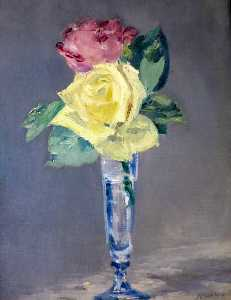 Edouard Manet - Roses in a Champagne Glass