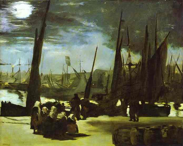 famous painting Moonlight on Boulogne Harbour of Edouard Manet