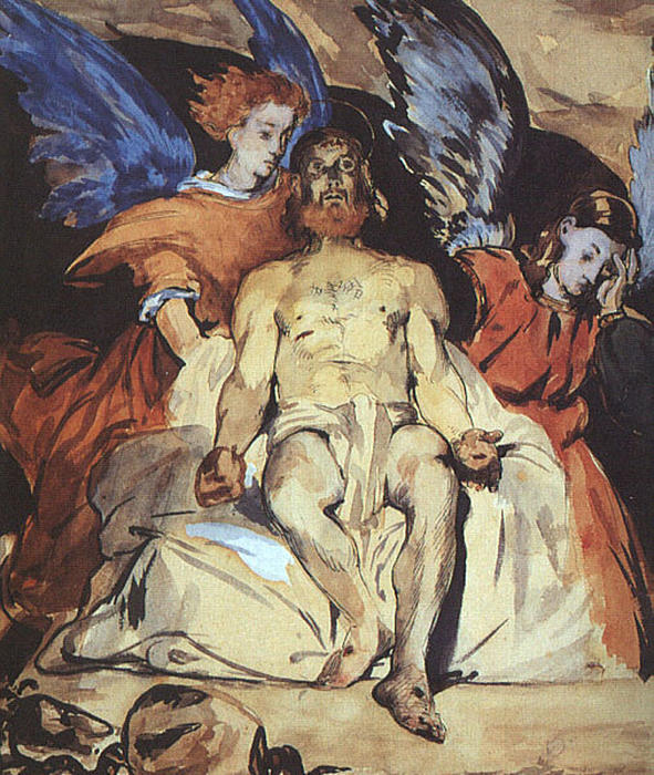 famous painting Study to ''Dead Christ with Angels'' of Edouard Manet