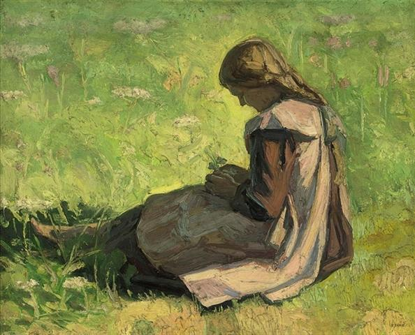 famous painting Girl sitting in the grass of Emmanuel Zairis