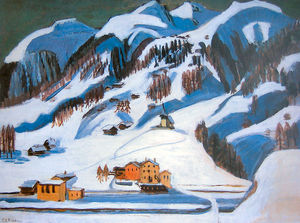 Ernst Ludwig Kirchner - Mountains and Houses in the Snow