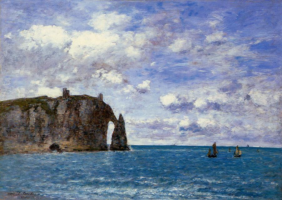 famous painting The Cliffs at Etretat of Eugène Louis Boudin