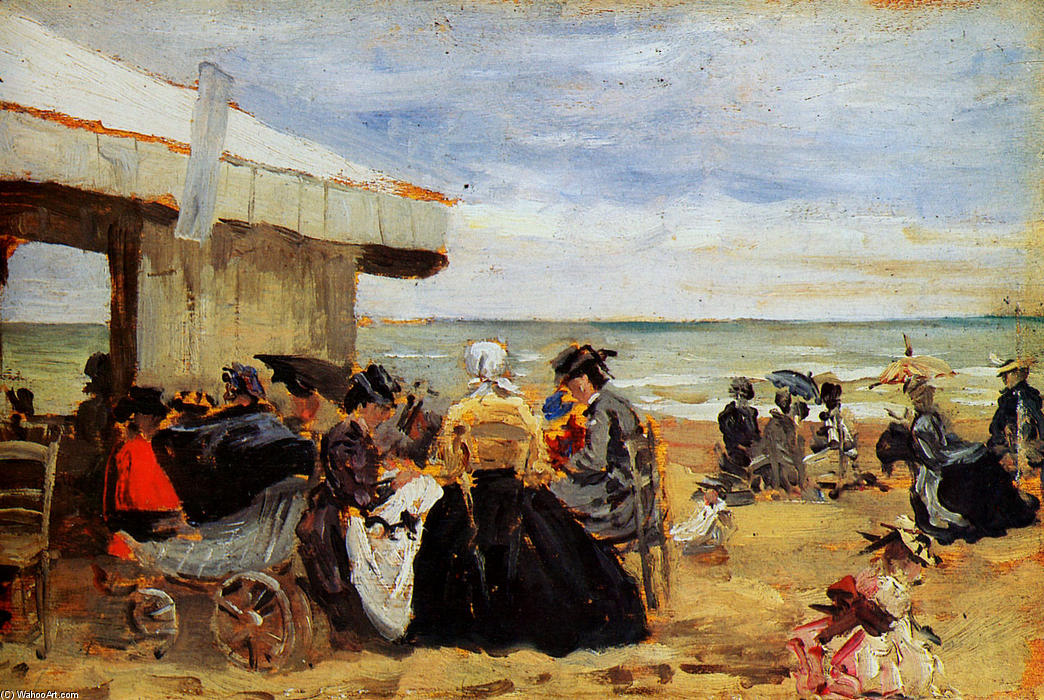 famous painting A Beach Scene of Eugène Louis Boudin