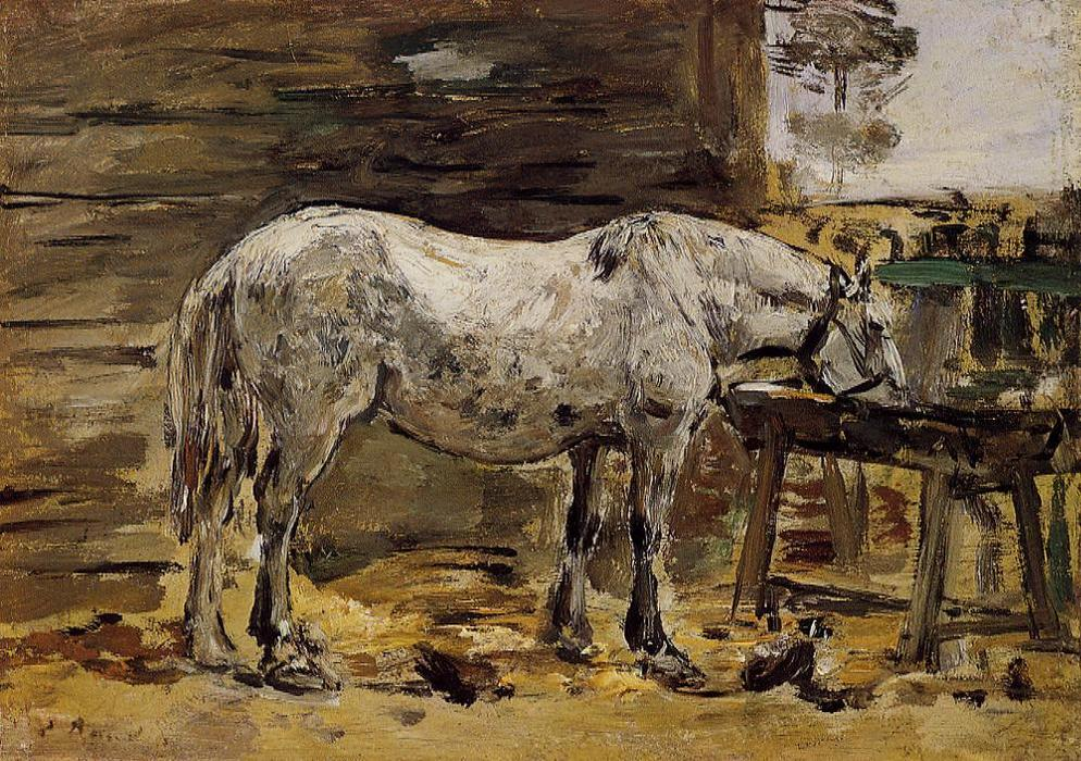 famous painting A Horse Drinking of Eugène Louis Boudin