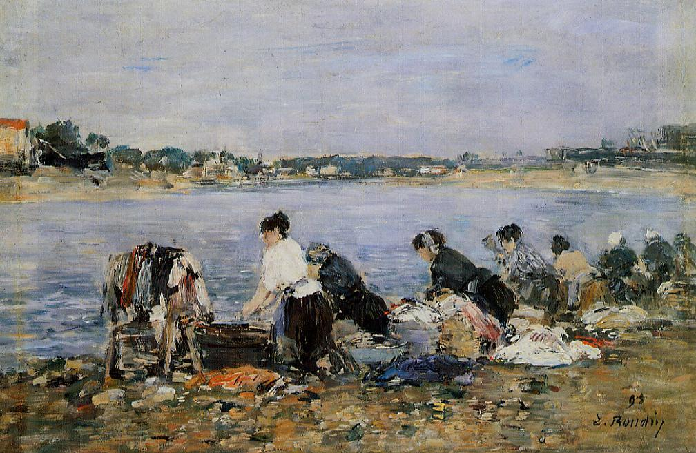 famous painting Laundresses on the banks of Touques of Eugène Louis Boudin