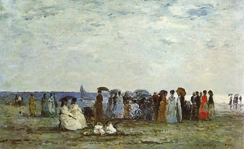 famous painting Bathers on the Beach at Trouville of Eugène Louis Boudin