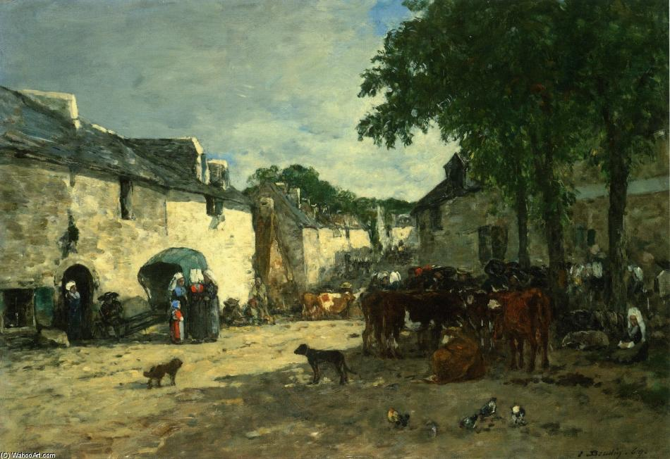 famous painting Cattle market at Daoulas, Brittany of Eugène Louis Boudin