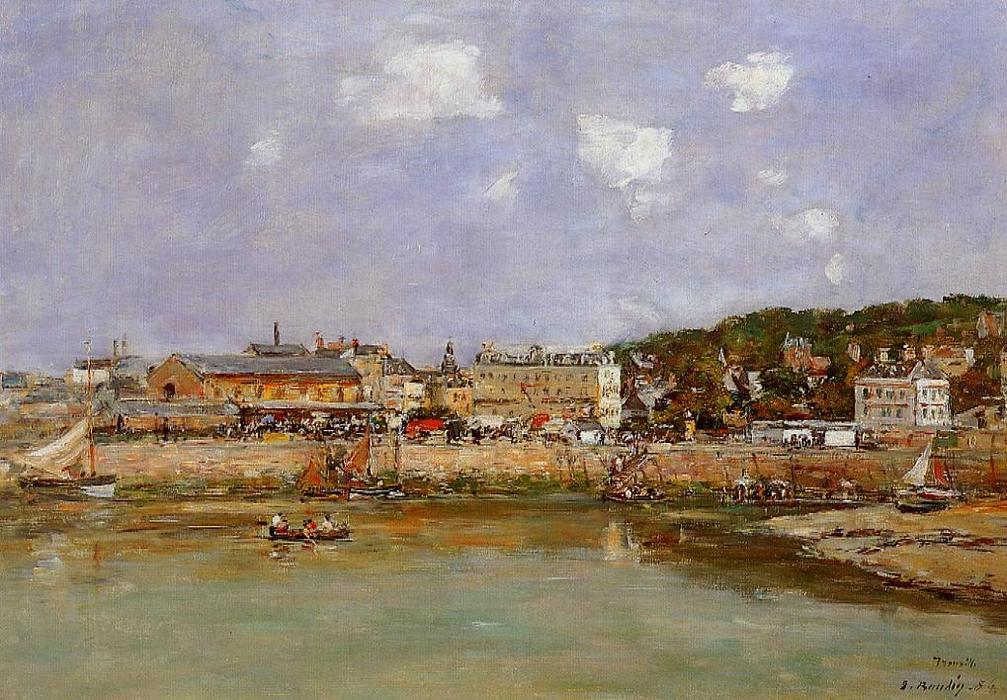 famous painting The Port of Trouville, the Market Place and the Ferry of Eugène Louis Boudin