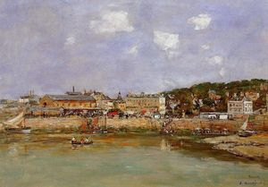 Eugène Louis Boudin - The Port of Trouville, the Market Place and the Ferry