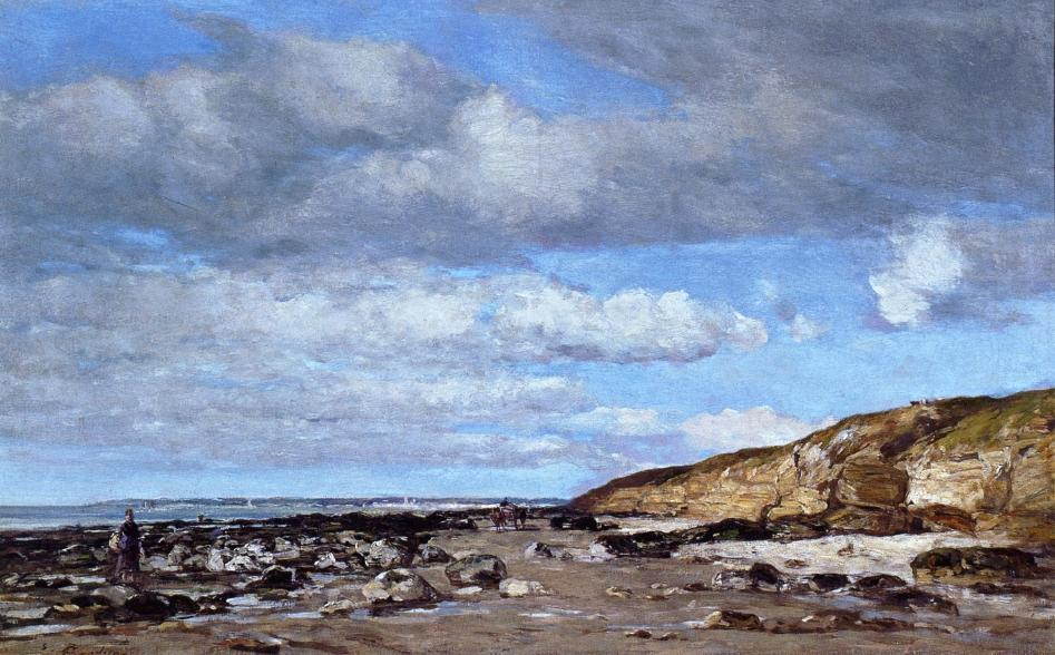 famous painting Trouville, Shore and Rocks of Eugène Louis Boudin
