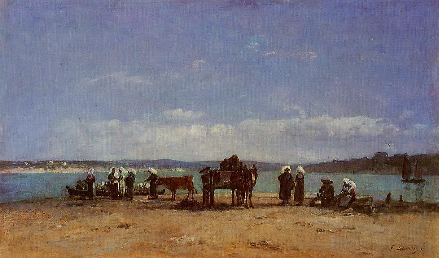 famous painting The Breton Fishermen's Wives of Eugène Louis Boudin