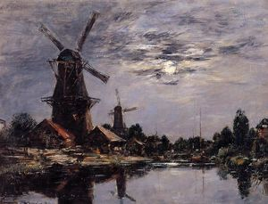 Eugène Louis Boudin - Dutch Windmills