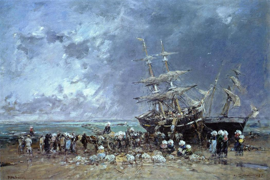 famous painting Unloading the Newfoundland Fishing Boat of Eugène Louis Boudin