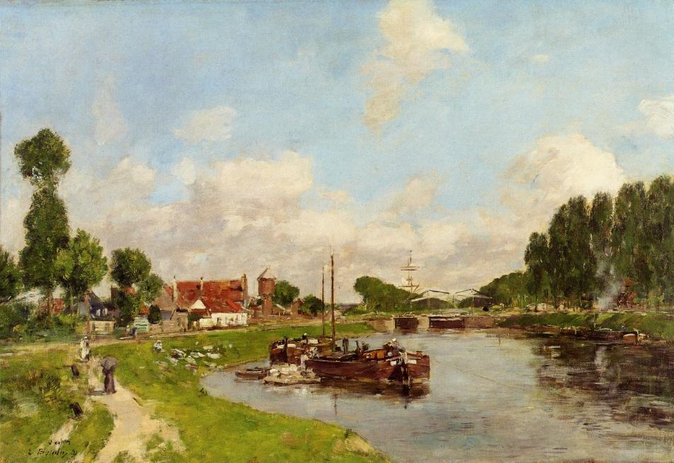 famous painting Barges on the canal at Saint-Valery-sur-Somme of Eugène Louis Boudin