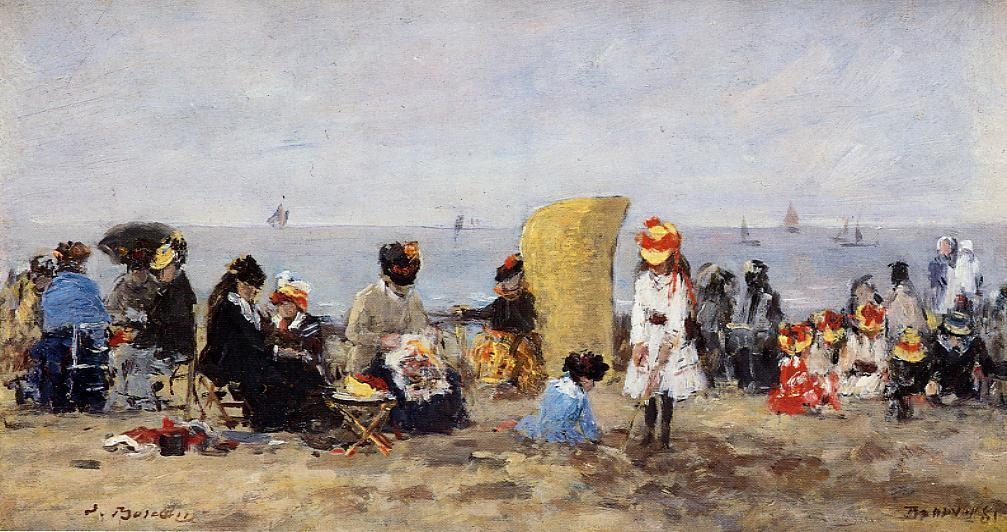 famous painting Beach Scene, Trouville of Eugène Louis Boudin