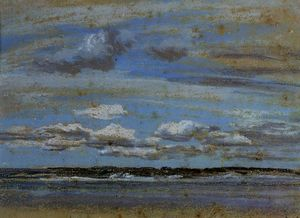 Eugène Louis Boudin - White Clouds over the Estuary