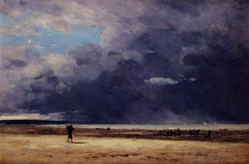 famous painting Deauville, Low Tide of Eugène Louis Boudin