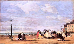 Eugène Louis Boudin - Empress Eugenie on the beach at Trouville