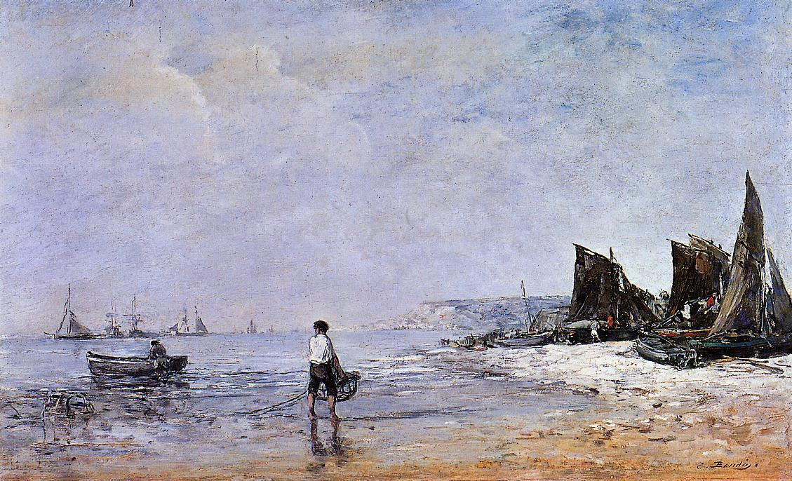 famous painting The Fisherman, Low Tide of Eugène Louis Boudin