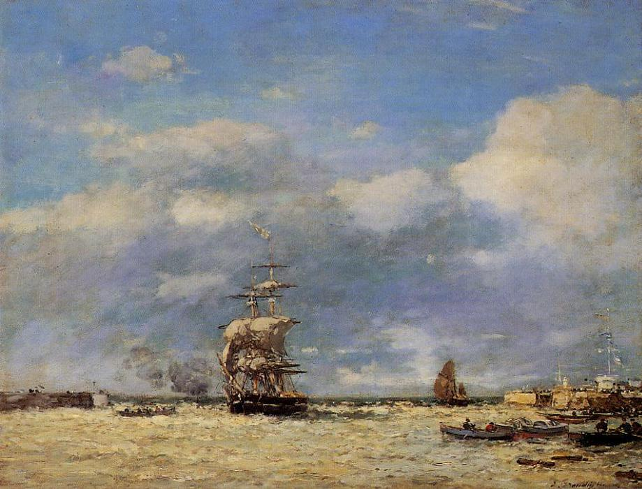 famous painting Entrance to Port of Havre of Eugène Louis Boudin