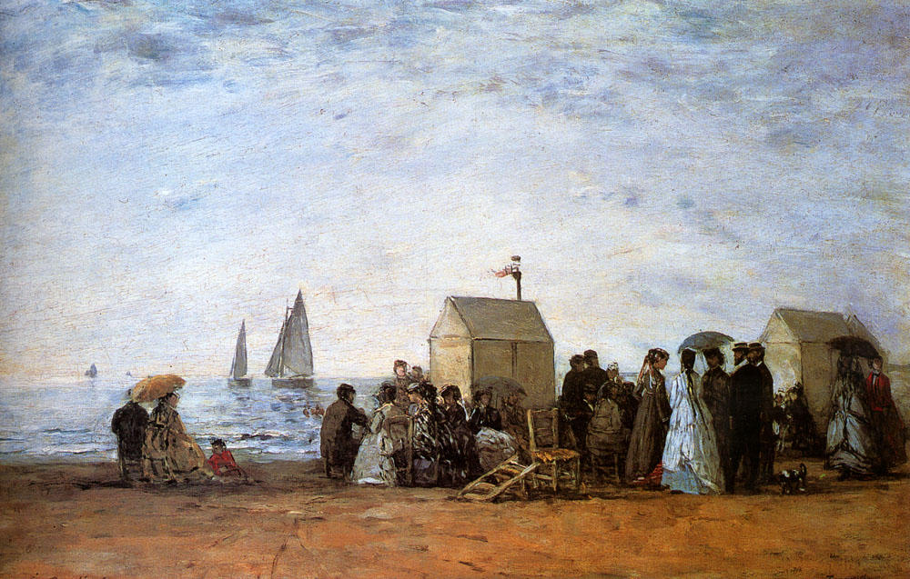 Buy Museum Art Reproductions Impressionism | The beach at Trouville by Eugène Louis Boudin | TopImpressionists.com