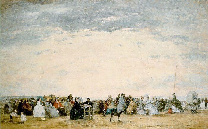 famous painting The Beach at Trouville of Eugène Louis Boudin