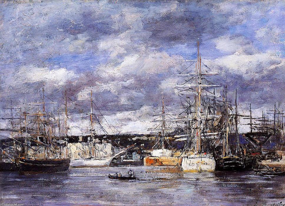 famous painting The Vauban Basin at Havre of Eugène Louis Boudin