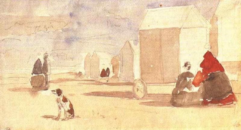 famous painting By the Bathing Machines of Eugène Louis Boudin