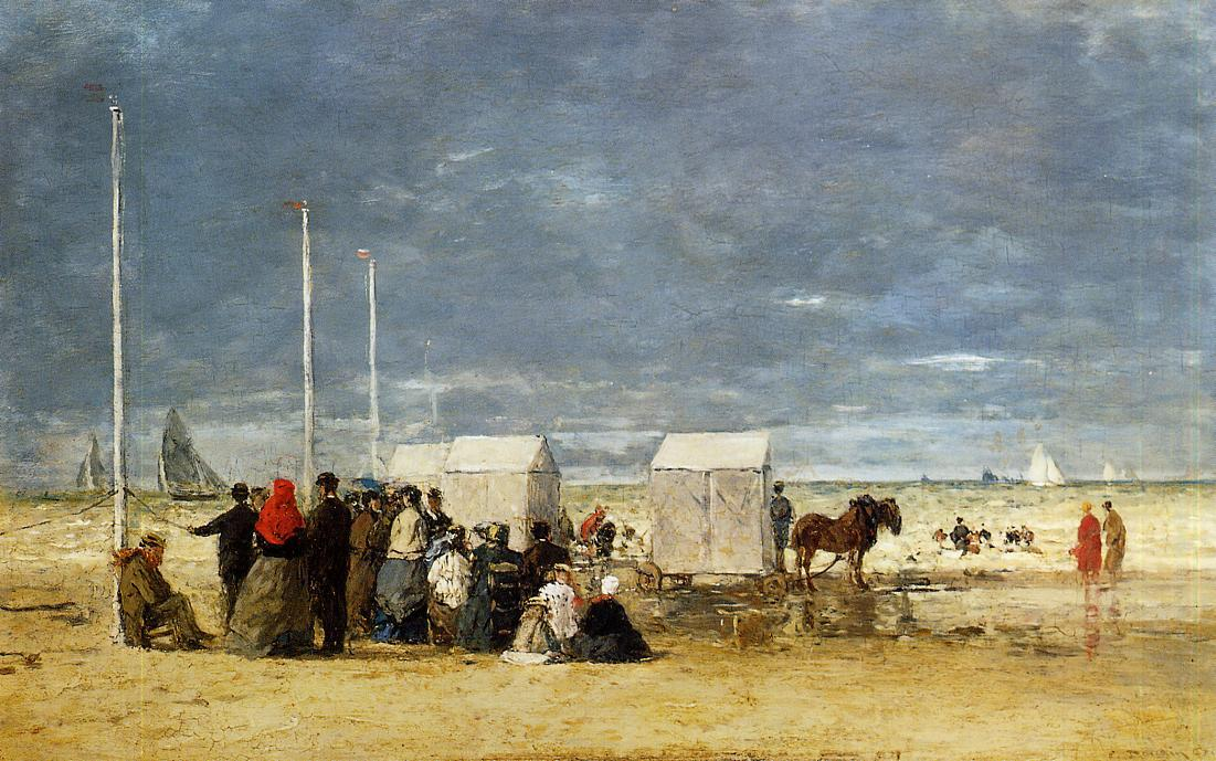 famous painting On the Beach of Eugène Louis Boudin