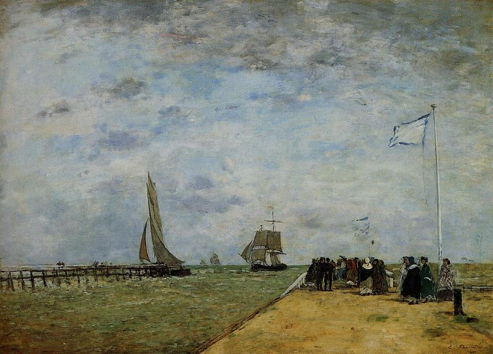 famous painting The Trouville Jetty of Eugène Louis Boudin