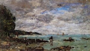 Eugène Louis Boudin - The Coastline at Plougastel