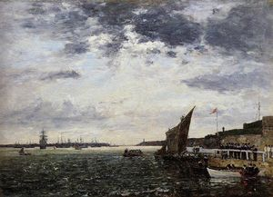Eugène Louis Boudin - Marines Landing in Brest Harbor