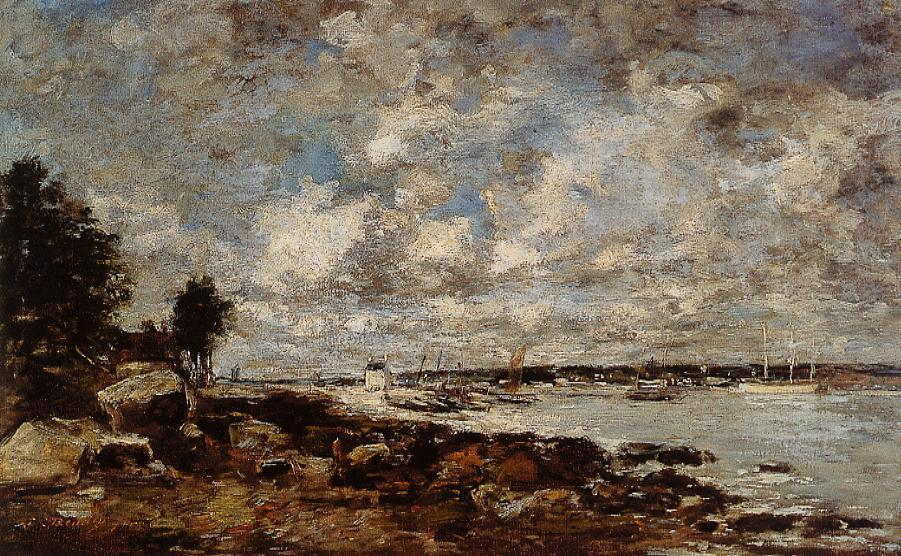 famous painting Plougastel, the Ferry Passage of Eugène Louis Boudin