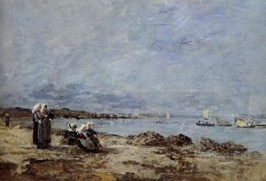 Eugène Louis Boudin - Plougastel, Women Waiting for the Ferry