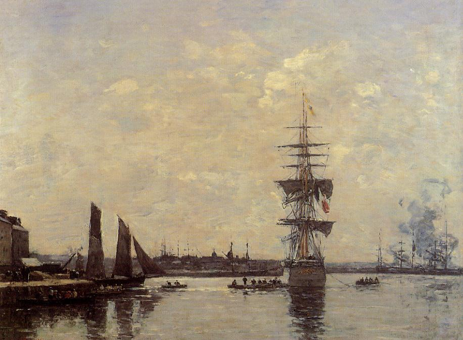 famous painting Sailing Boats at Quay of Eugène Louis Boudin