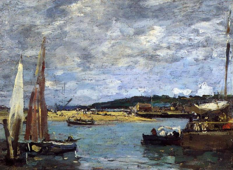 famous painting The Ferry to Deauville of Eugène Louis Boudin