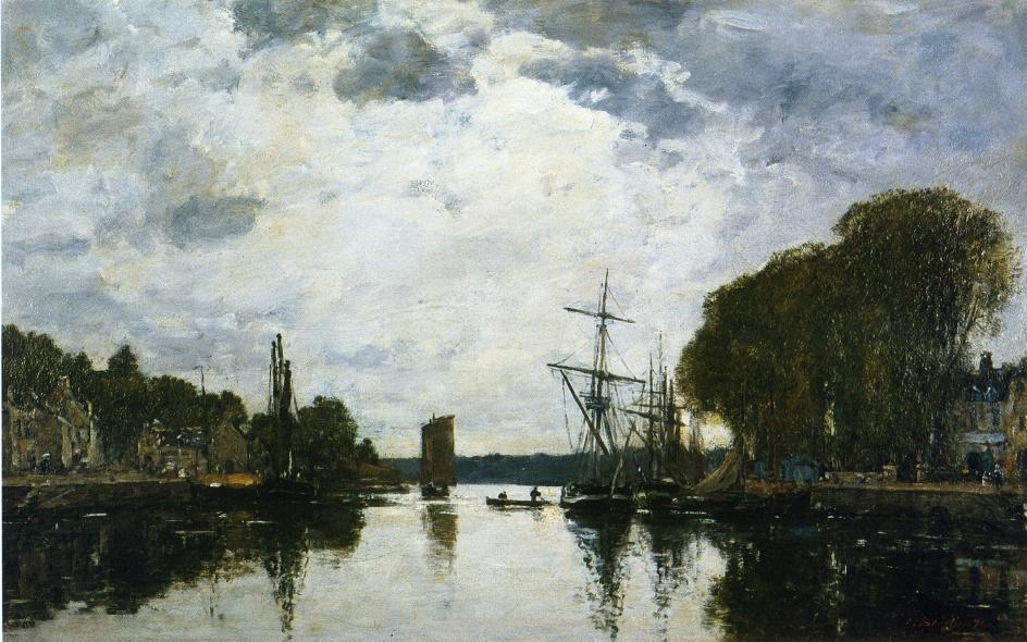famous painting The Port of Landerneau - Finistere of Eugène Louis Boudin