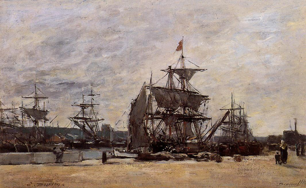famous painting Deauville, Docked Boats of Eugène Louis Boudin