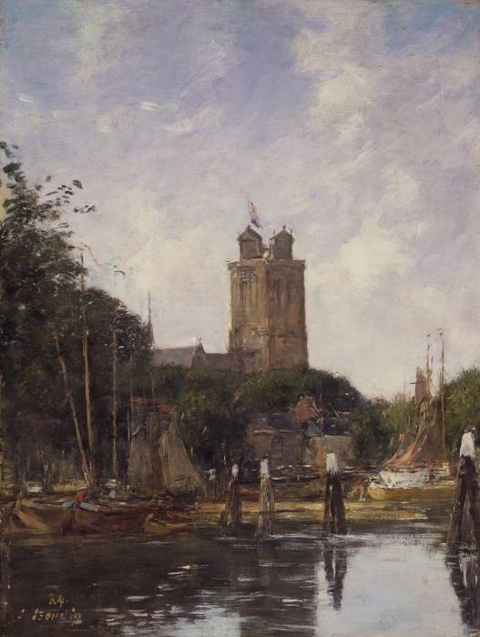 famous painting Dordrecht, The Great Church from the Canal of Eugène Louis Boudin