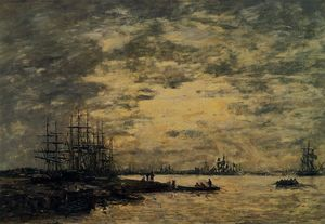 Eugène Louis Boudin - Bordeaux, Boats on the Garonne