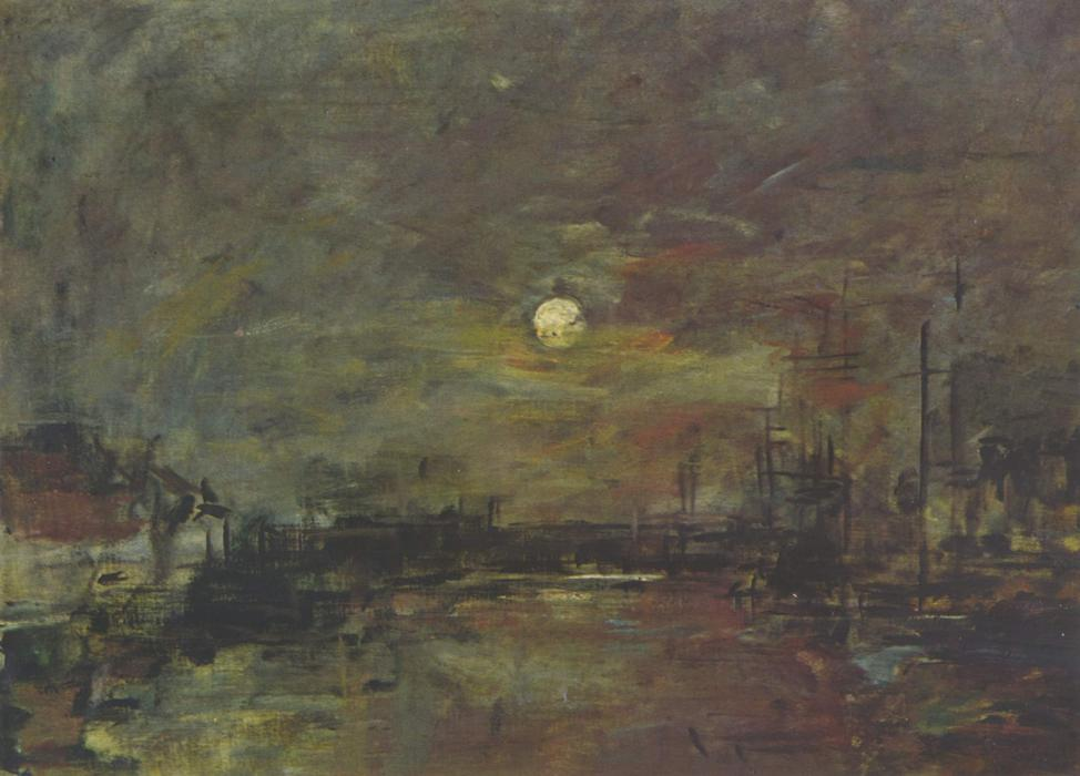 famous painting Dusk over the port of Le Havre of Eugène Louis Boudin