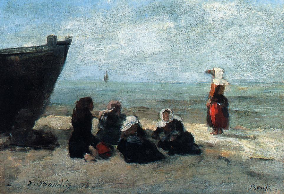 famous painting Fisherwives Waiting for the Boats to Return of Eugène Louis Boudin