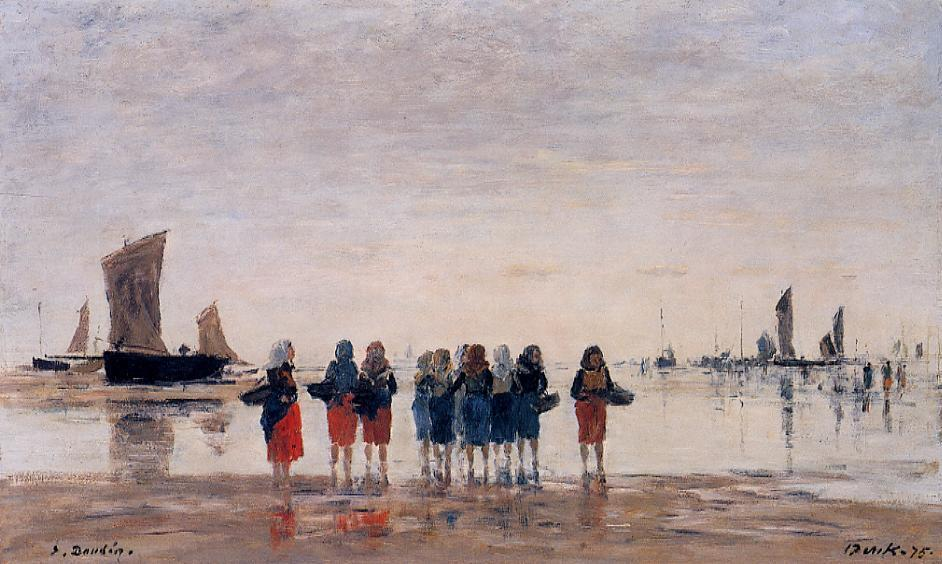 famous painting Fisherwomen at Berck of Eugène Louis Boudin