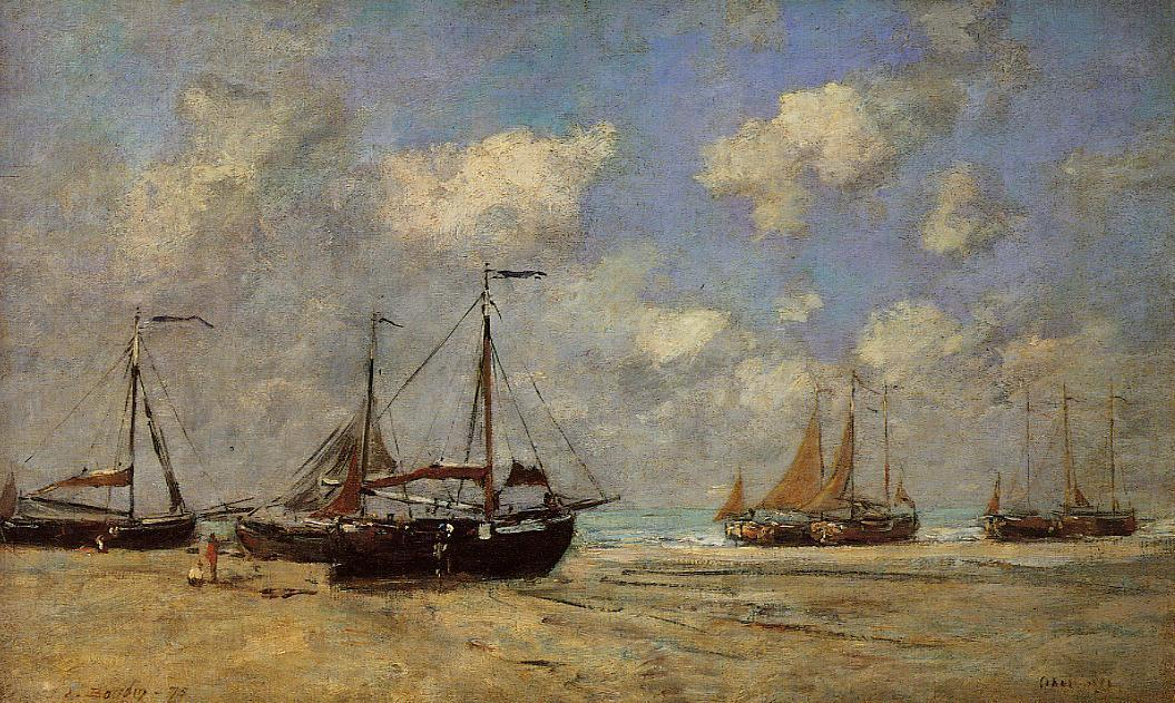 famous painting Scheveningen, Boats Aground on the Shore of Eugène Louis Boudin