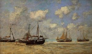 Eugène Louis Boudin - Scheveningen, Boats Aground on the Shore
