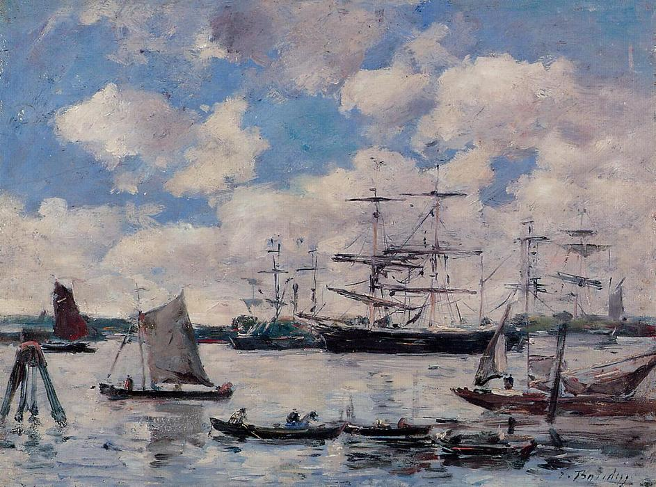 famous painting Near Rotterdam of Eugène Louis Boudin