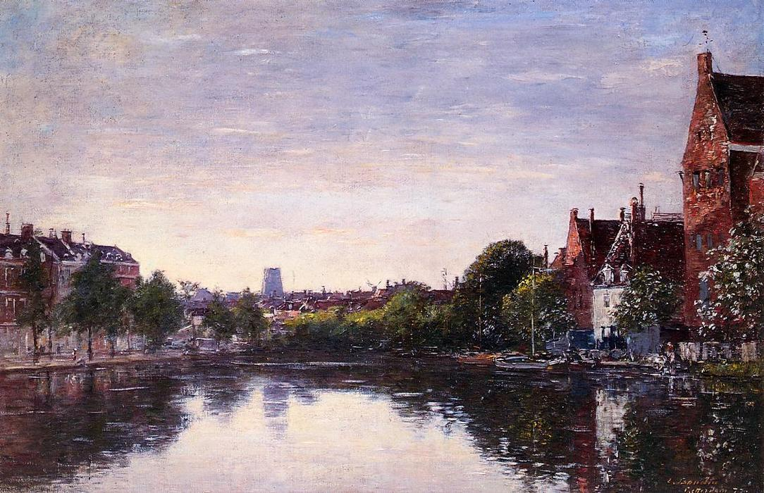 famous painting Rotterdam. A Corner of the Basin of Eugène Louis Boudin