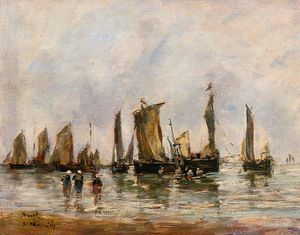 Eugène Louis Boudin - Fishing Boats at Berck