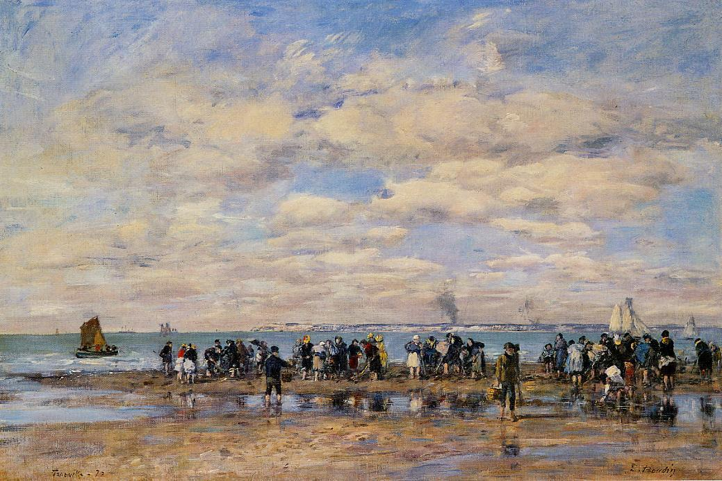 famous painting Trouville, the Beach at Low Tide of Eugène Louis Boudin